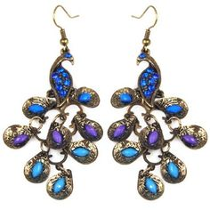 Blue Rhinestone Crystal Dangle Earrings - a little gaudy but what the heck...