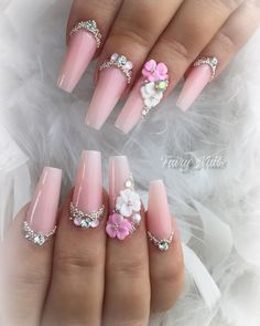 51 Impressive Flower Coffin Nail Art Designs - Six Tutorial and Ideas Bling Nails, 3d Nails, Cute Nails, Pretty Nails, Coffin Nails, Pastel Nails, Nail Art Designs, Acrylic Nail Designs, Nails Design