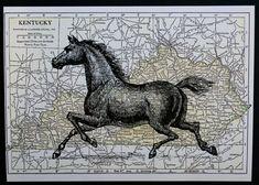 Horse Print Map Art - 5 x 7 Kentucky Derby Horse Art Map Print - Kentucky Derby Print