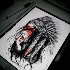 Desenho de índia em preto e branco com detalhes em colorido.  #desenho #drawing #art #arte #pretoebranco #colorido #india Tattoos 3d, Native Tattoos, Viking Tattoos, Life Tattoos, Unique Tattoos, Body Art Tattoos, Sleeve Tattoos, Tatoos, Tattoo Ink