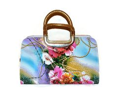 Colorful Floral Graphic Handbag Multicolor Floral by SilkyGifts