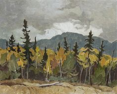 A.J. Casson - Edge of the Woods Oxtongue Lake 12 x 15 Oil on board (1970) Woods, Oil, Board, Painting, Woodland Forest, Painting Art, Paintings, Forests, Painted Canvas