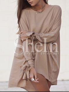 Mocha Camel Sophisticated Baggy Long Sleeve Bat Sleeve Designer Loose Dress -SheIn(Sheinside) Mobile Site