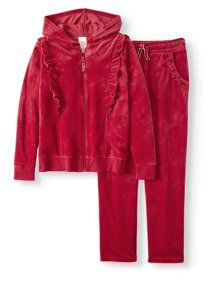 Plus Size Wonder Nation Girl's Ruffled Velour Hoodie and Pant Set, Size: Kids 4 Plus, Red Velour Jackets, Plus Size Girls, Other Outfits, Fleece Hoodie, Hooded Jacket, Rain Jacket, Leather Jacket, Hoodies, Coat