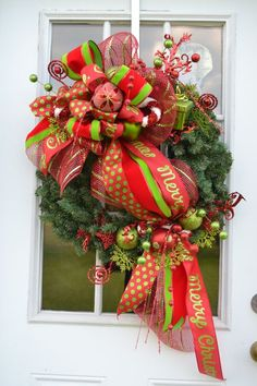 merry christmas wreath 1 deco mesh by on etsy - Christmas In The Country Erie Pa