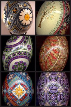 """Ukrainian Pysanka, Pysanky Easter Eggs by So Jeo. A note on pronunciation, despite what you may have heard on television, a supplier of pysanky tools or from an instructor in a local class, """"Pysanka"""" is correctly pronounced """"Pih-sahn-kah""""  with the plural """"Pih-sahn-kih"""". All with short vowels.  The term """"pysanky"""" is not, never was, nor will it ever be correctly pronounced """"pie-SAN-kee or pizz-an-ki"""""""
