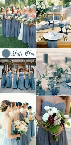 Top 9 Spring & Summer Wedding Color Palettes ---dusty blue/ slate blue wedding bouquets wedding table runner wedding cakes with floral toppers wedding centerpieces with flowers table numbers table ware Slate Blue Bridesmaid Dresses, Blue Bridesmaids, Bridesmaid Ideas, Slate Wedding, Wedding Table, Wedding Cakes, Wedding Ideas, Champagne And Blue Wedding, Wedding Themes