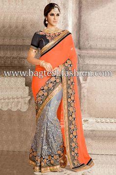 Spectacular Orange And Grey Georgette Sari