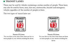 Information on Transit lanes