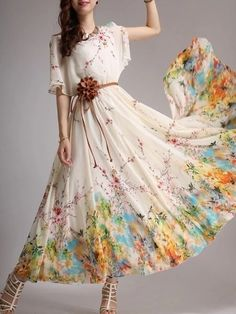 Crew Neck Chiffon Bohemian Floral Printed Maxi-dress Maxi Dresses from fashionmia.com