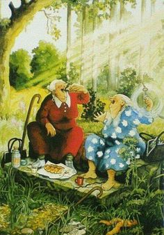Inge je coup de pied l& - Old Lady Humor, Funny Illustration, Country Artists, Print Artist, Whimsical Art, Funny Art, Old Women, Painting & Drawing, Illustrators