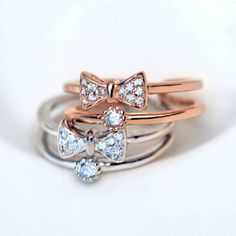CZ Inlaid Bowknot Double-row Ring