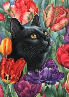What's New Pussycat, Cat Clipart, Cute Animal Illustration, Diamond Paint, Cool Paintings, Large Canvas, Mosaic Art, Cat Art, Cats And Kittens