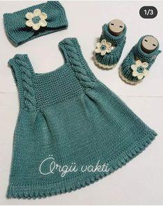 Baby Cardigan Knitting Pattern Free, Knitted Baby Cardigan, Knit Baby Sweaters, Knitted Baby Clothes, Baby Knitting Patterns, Girls Knitted Dress, Knit Baby Dress, Baby Girl Crochet, Knit Fashion