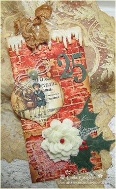 The Funkie Junkie: Challenge: 12 Tags of Christmas - Funkie Junkie Style - Week Noel Christmas, Christmas Gift Tags, Christmas Paper, Xmas Cards, Handmade Christmas, Vintage Christmas, Christmas Crafts, Holiday Cards, Timmy Time