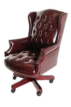 Traditional Executive Chair Button Tufted Style Leather b...