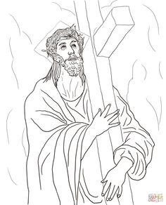 Seconda stazione - Gesù è caricato della croce - Disegni da Colorare Gratis
