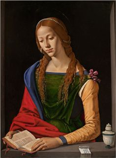 """""""St Mary Magdalene Piero Di Cosimo (Italian High Renaissance, Oil on panel. Galleria Nazionale d'Arte Antica, Rome. A repentant Mary reads from a book. Renaissance Kunst, Renaissance Portraits, High Renaissance, Renaissance Paintings, Renaissance Artists, Maria Magdalena, Italian Painters, Italian Artist, Woman Reading"""