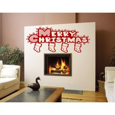 Merry Christmas socks with gifts Wall Art Sticker Decal