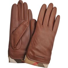 Burberry Jenny Touch Leather Gloves (5.498.250 IDR) ❤ liked on Polyvore featuring accessories, gloves, brown, brown gloves, leather gloves, burberry, burberry gloves and brown leather gloves