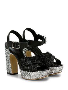COUTURE - Sandalo alto - Donna - Sandalo alto in pelle e glitter con cinturino alla caviglia e suola in cuoio. Tacco 125, platform 40 con battuta 85. - NERO\SILVER - € 198.00