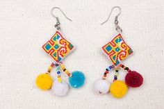 Hmong Crosstitch Earring/ Accessories/ Ethnic/ by CHEZMOIMYHOME, $10.00