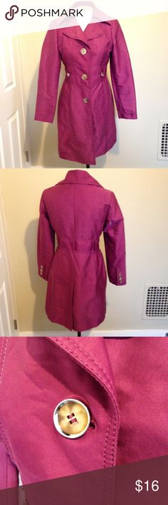 """Kenneth Cole Cotton Sateen Walking Trench Coat M Kenneth Cole Cotton Sateen Walking Trench Coat M. Color is plum/fuchsia. Used coat does not have the belt I'm not sure it came with one but works perfectly without it. Still in good condition. Measurements approximately laying flat. Pit-Pit 18 1/2"""" Waist 15""""  sleeve 23 3/4"""" length 34"""". Single breasted button closure. Front seem pockets. Kenneth Cole Jackets & Coats Trench Coats"""