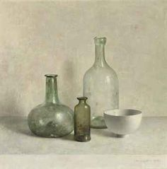 Still life by Dutch Painter: Henk Helmantel  (1945). Antique glass bottles in the sunlight.