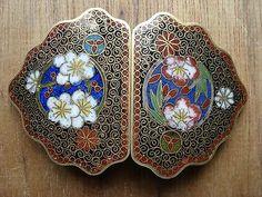 Exquisite Antique Japanese China Russia Brass Enamel Cloisonne belt buckle clasp