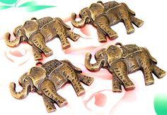 3BeadsCharm Elefant Anhänger Bronze versilbert Messing von diygem