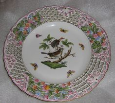 Herend  Pierced Work Rothschild Bird Decorative Wall Plate