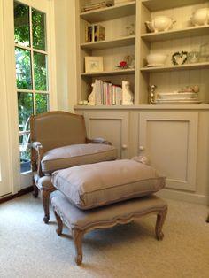 Rochelle - Grey Linen Chair, Filou grey linen footstool, both Alison at Home. Paint work Farrow & Balls Elephants Breath.