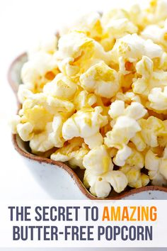 """The BEST Butter-Free Popcorn (Nooch Popcorn) ~ """"Nooch"""" Popcorn really is the BEST butter-free popcorn! It's also vegan, gluten-free, dairy-free, preservative-free, healthier, and irresistibly tasty. And it can be made in just 10 minutes!"""