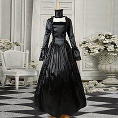 Black Long Sleeves Satin Gothic Victorian Dress – USD $ 99.99
