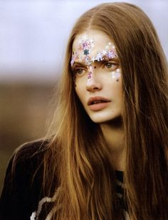 Glitter on face