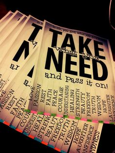Take What You Need & Pass it On. This was a passive program I did for my residents & It easily got everyone involved. I simply went online & printed a few random copies, posted it around, & ta-da!