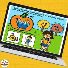 This set of self grading activities are perfect for distance learning, hybrid teaching and face to face learning. This set of short and long vowel practice boom cards has 2 activities in one. Step 1: Students will say the picture on the pumpkin. They will need to click on short or long to determine what kind of vowel sound they hear. Step 2: Students will then choose a picture of a word that rhymes.