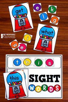 EDITABLE sight word practice with a fun bubble gum theme. Super engaging for the Kindergarten or first grade classroom. Includes 133 pre-made cards, plus an editable version for you to add your own words. Also includes a work mat, I Can cards, a recording sheet plus extra NO PREP practice pages. Kindergarten Sight Words List, Learning Sight Words, Sight Word Practice, Sight Word Games, Kindergarten Centers, Sight Word Activities, Kindergarten Reading, Kindergarten Activities, Preschool