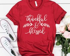 Etsy :: Your place to buy and sell all things handmade Thanksgiving Shirts For Women, Crew Neck Shirt, T Shirt, Thankful And Blessed, Fall Shirts, Shopping Websites, Soft Fabrics, Size Chart, My Style