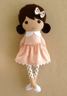 Fabric Doll Rag Doll Brown Haired Girl in Sweet by rovingovine