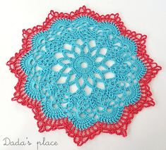 @ Dada's place: Doily from free charted pattern by anabelia here: http://anabeliahandmade.blogspot.com.au/2013/02/tapete-paso-paso.html