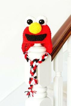 Sesame Street Elmo Inspired Baby Hat Crochet FREE Pattern via Hopeful Honey: