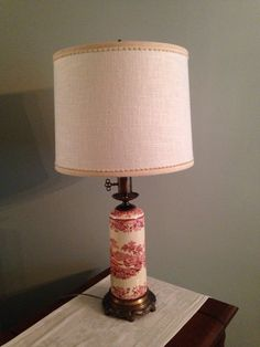 Vintage Staffordshire Lamp in Red Transferware with by anniemason