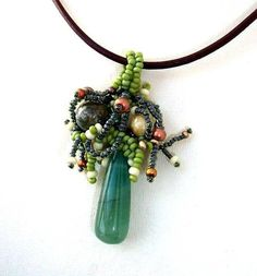 Freeform beaded pendant with aventurine gemstone earrings от ibics