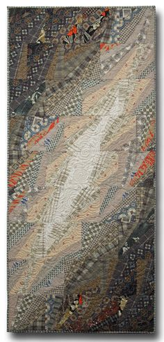 """Rocky Road II"" Created by Jim Mijanovich and Libby Mijanovich One of a Kind Fiber wall art constructed exclusively from pieced vintage clothing. Exquisitely detailed machine stitching with metallic threads."