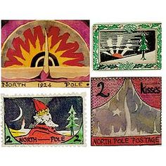 """North Pole stamps painted by J. Tolkien for """"The Father Christmas Letters"""" written at yule time to his children Tolkien Books, J. R. R. Tolkien, Father Christmas Letters, Pole Bear, O Hobbit, Christmas Drawing, Christmas Is Coming, Christmas Time, Christmas Ideas"""
