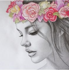 Girl with flower crown illustration Beautiful Drawings, Cool Drawings, Drawing Sketches, Drawing Ideas, Pretty Drawings Of Girls, Drawings Of Girls Faces, Sketching, Pretty Girl Drawing, Pencil Drawing Inspiration