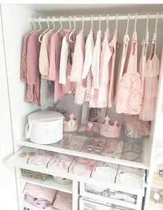 Everything about this super girly, super organized, super chic nursery closet inspires me! I mean the drawers with the headbands are everything and definitely have to make it into a client nursery closet asap! Baby Bedroom, Baby Boy Rooms, Closet Bedroom, Baby Room Decor, Kids Bedroom, Baby Girl Closet, Kid Closet, Closet Tour, Baby Storage