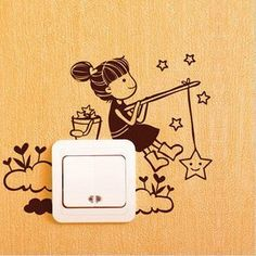 Latest girl wall sticker Korean Super fine hand-painted style of the switch stickers-good night Simple Wall Paintings, Creative Wall Painting, Wall Painting Decor, Creative Walls, Diy Wall Art, Machine Silhouette Portrait, Girls Wall Stickers, Wall Drawing, Idee Diy