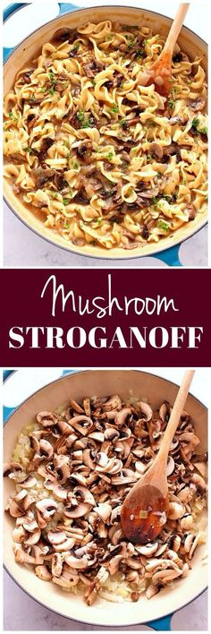 Easy Mushroom Stroganoff Recipe - quick and easy vegetarian version of a classic beef stroganoff. Packed with flavor and on the table under 20 minutes.